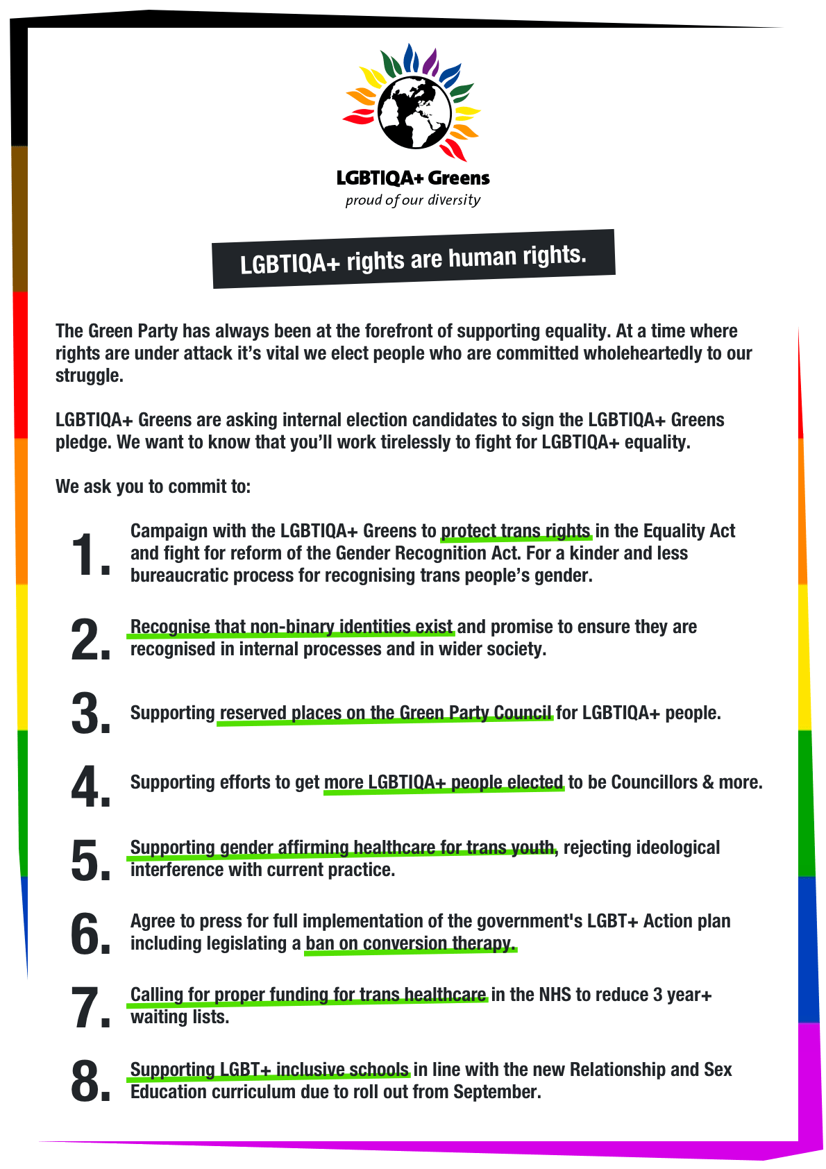 Details of the 8 pledges that LGBTIQA+ Greens asked leadership candidates to sign up to.