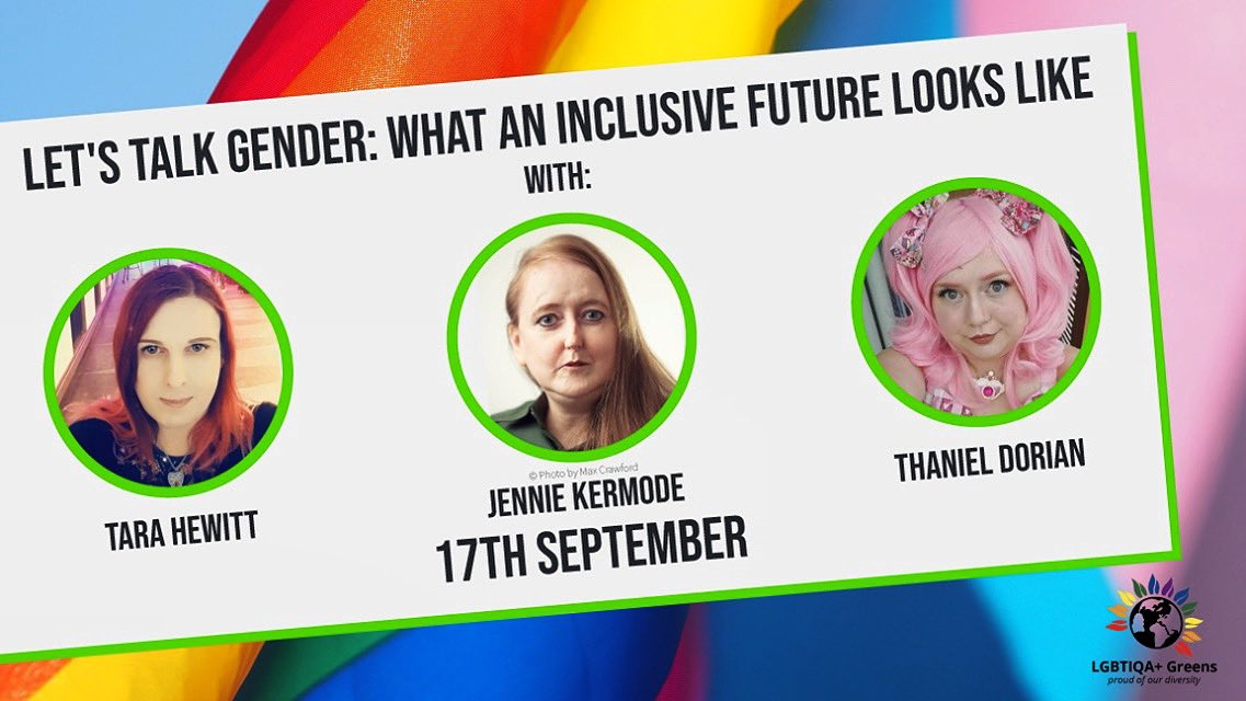 Profile pictures of the 3 guest speakers, overlaying a rainbow pride flag and a trans pride flag.