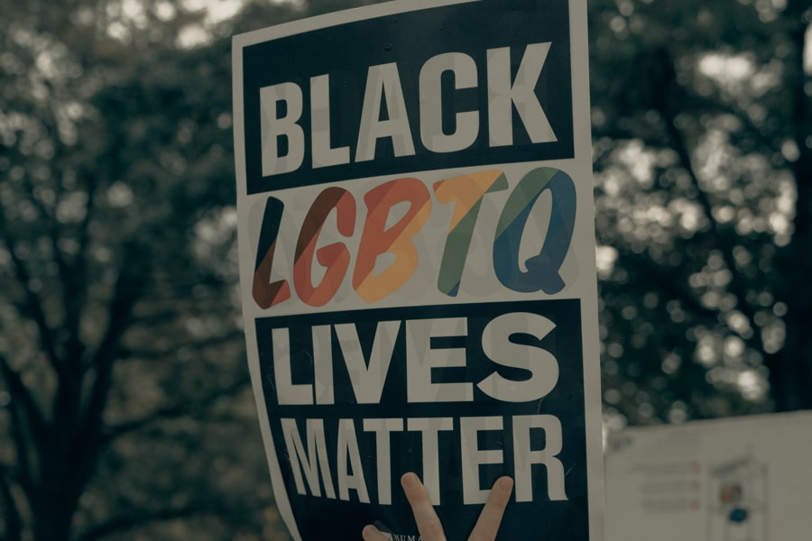 "Placard being held at a protest which reads: ""Black LGBTQ Lives Matter""."