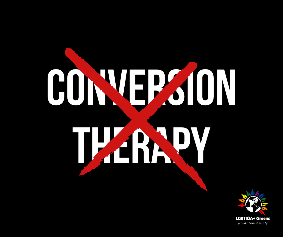 """Conversion Therapy"" in white on black background with a red cross scored through it."