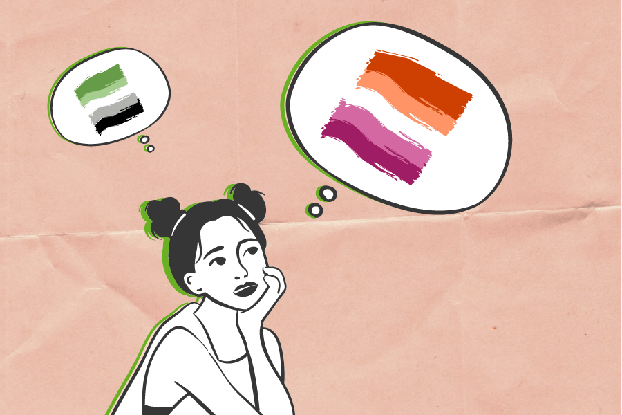 Black and white illustrated person with thought bubbles containing the aromantic and lesbian flags on top of a coral paper texture background