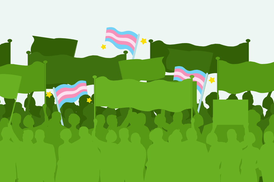 Green silhouette of a crowd with flags and banners. Some flags are the Trans pride flag.