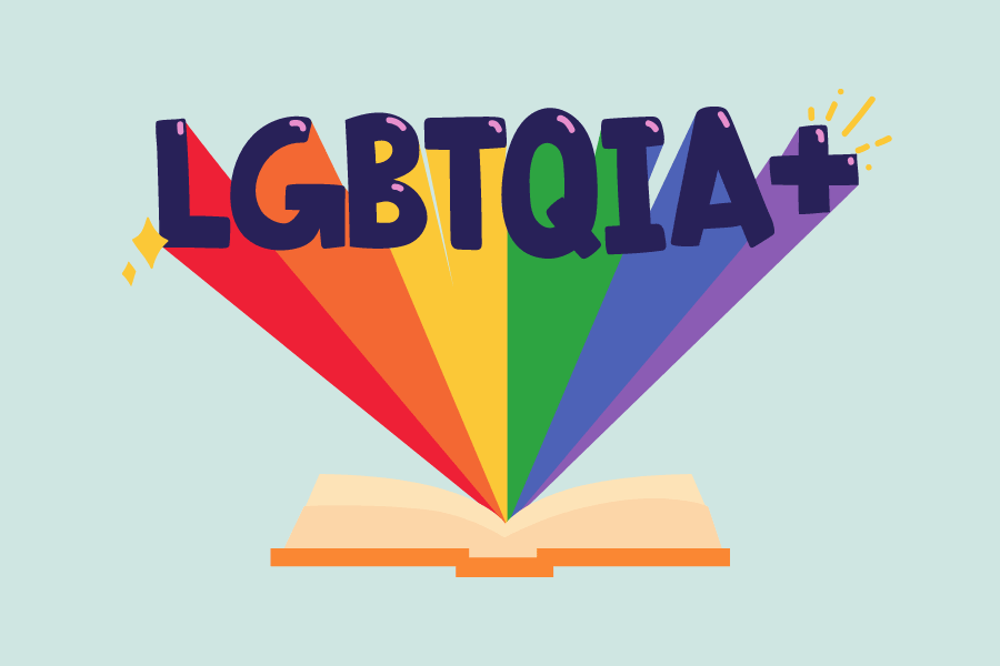 illustration of a book with the LGBTIQA+ acronym flying out leaving a trail of rainbow.