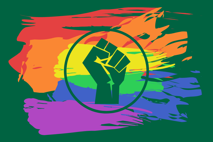 Scattered paint strokes in the LGBT Pride colours with a front-of-fist emblem, associated with the union movement, printed over the top
