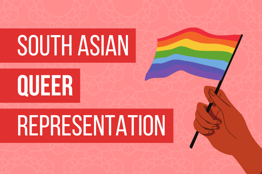 South Asian Quuer Representation with a hand holding the LGBT+ PRide flag.