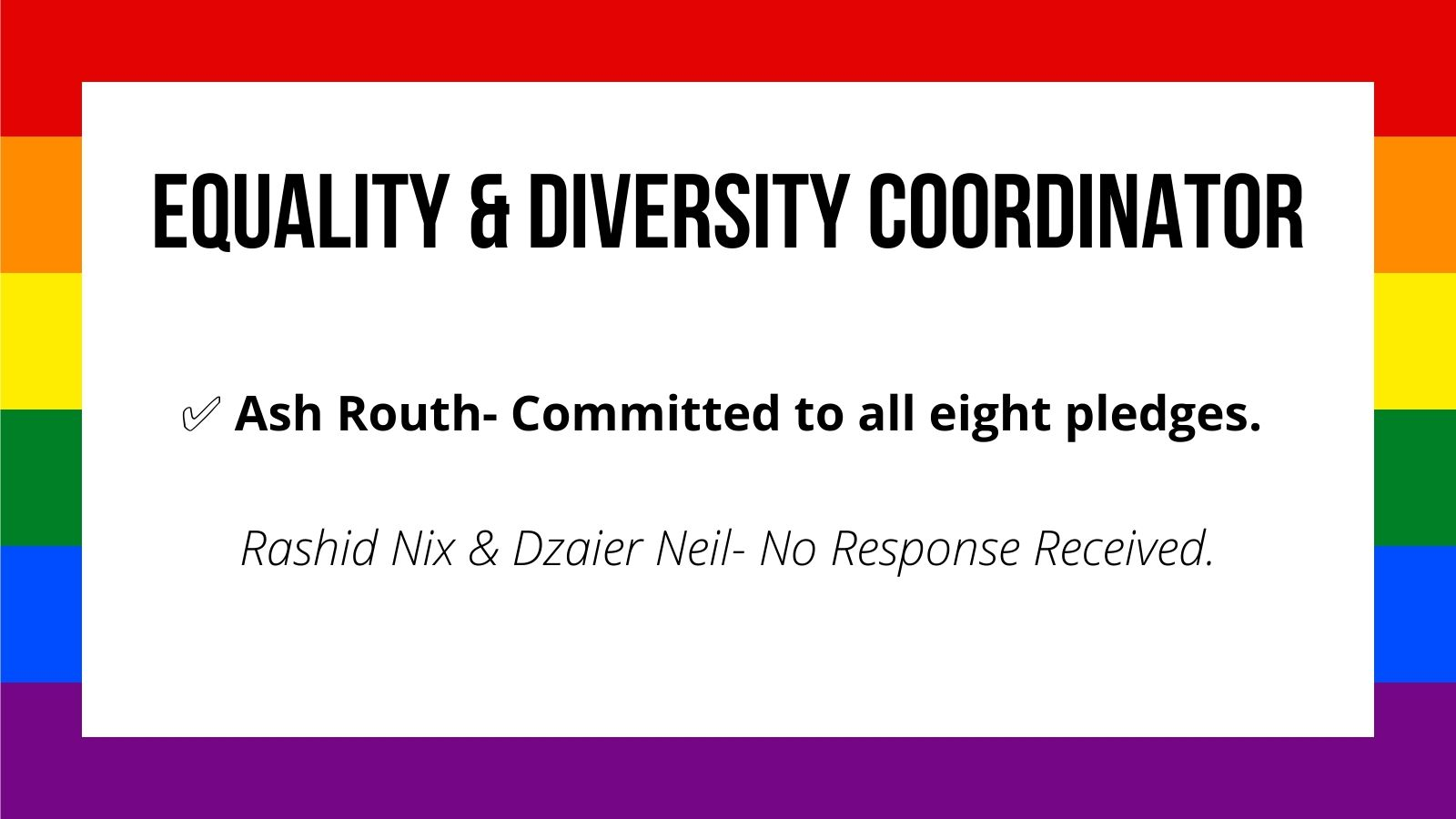 Equality & Diversity Coordinator Ash Routh- Committed to all eight pledges. ✅ Rashid Nix & Dzaier Neil- No Response Received