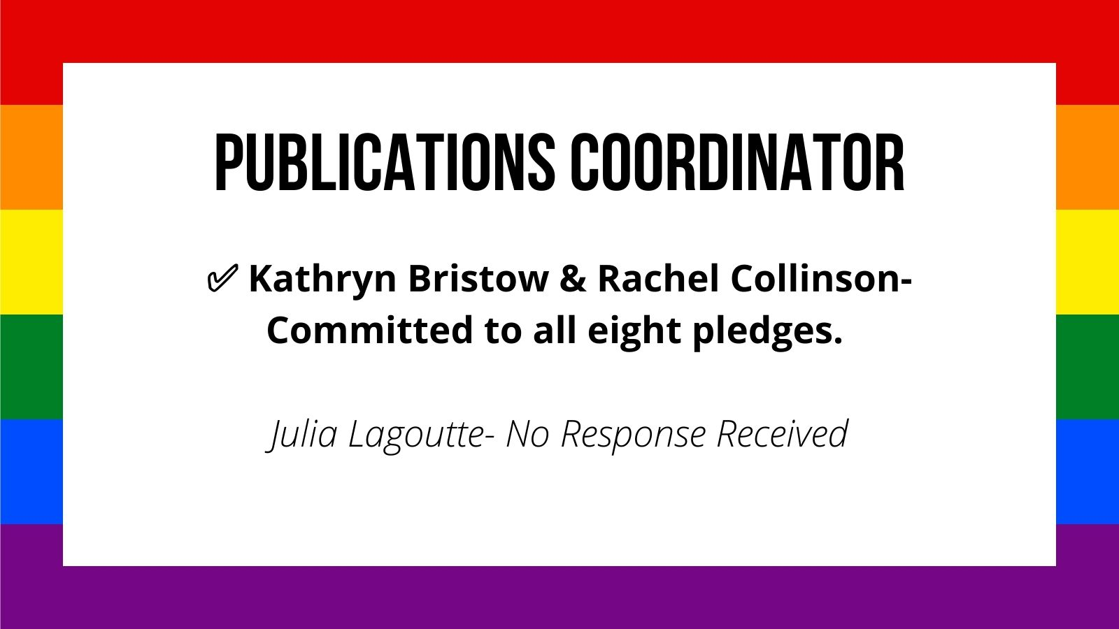 Publications Coordinator Kathryn Bristow & Rachel Collinson- Committed to all eight pledges. ✅ Julia Lagoutte- No Response Received