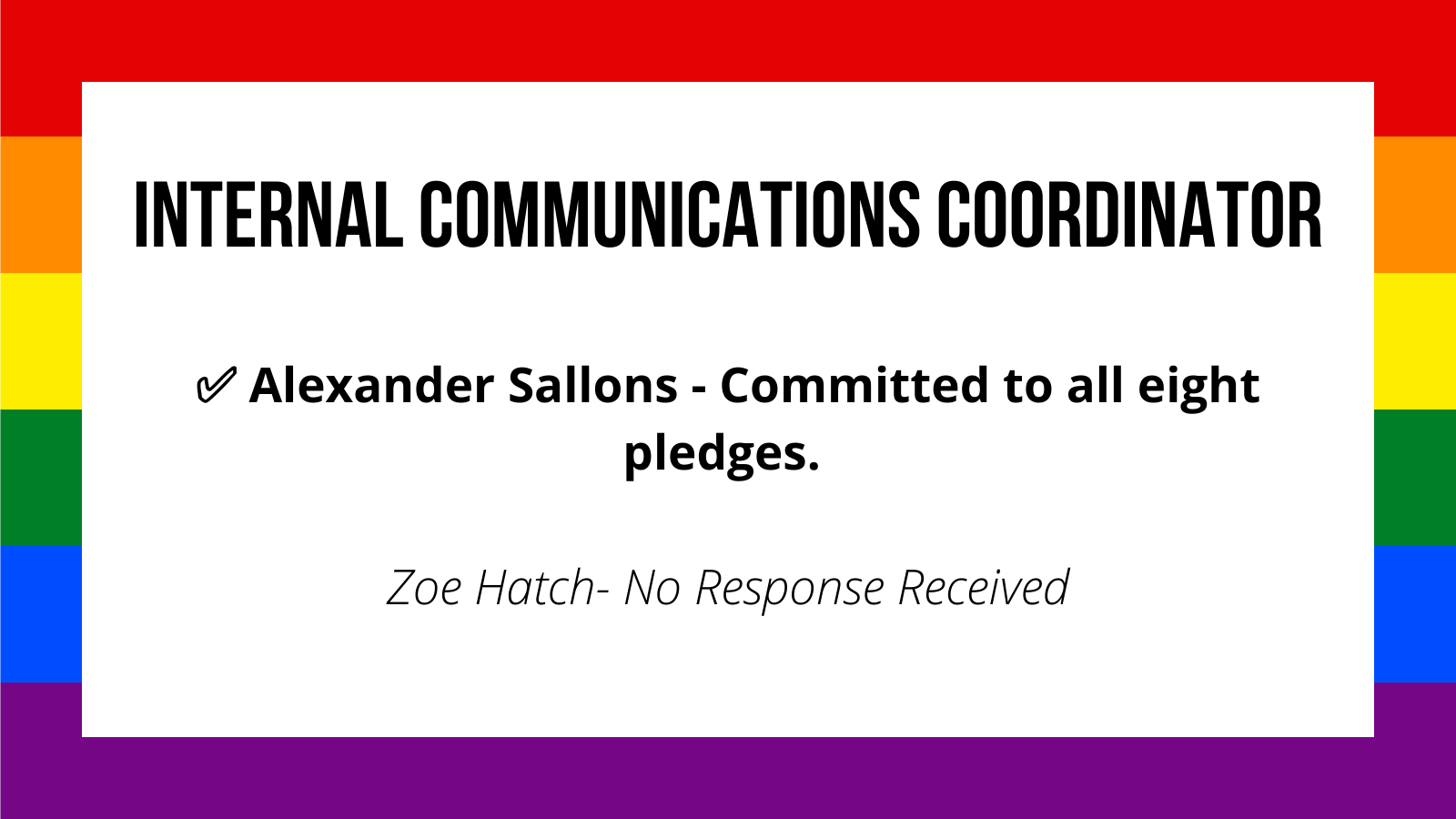 Internal Communications Coordinator✅ Alexander Sallons - Committed to all eight pledges. Zoe Hatch- No Response Received